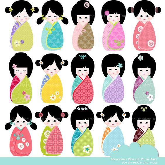 Kawaii Kokeshi Doll Clip Art. $25.95, via Etsy..