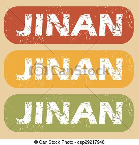 EPS Vector of Vintage Jinan stamp set.