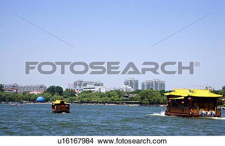 Stock Photo of China, Shandong, Jinan County, Daming Lake Park.
