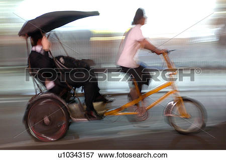 Picture of England, London, London, Bicycle rickshaw in London.The.