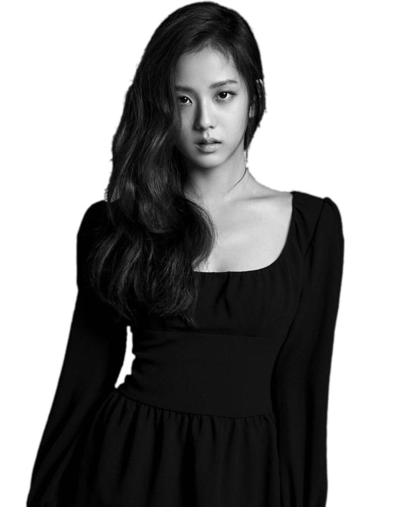 Blackpink Jisoo Black and White transparent PNG.