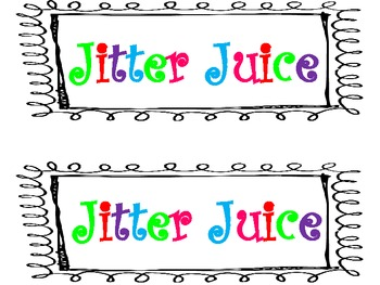 Colorful Jitter Juice Label by Amy Journell Johnston.