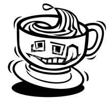 Jittery Cup of Coffee stock vectors.