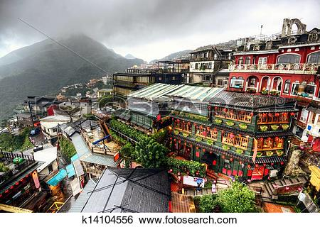 Stock Images of Jiufen Hillside Teahouses k14104556.
