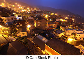 Picture of Jiufen at night , village in Taiwan csp6228777.