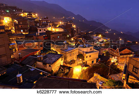 Picture of Jiufen at night , village in Taiwan k6228777.