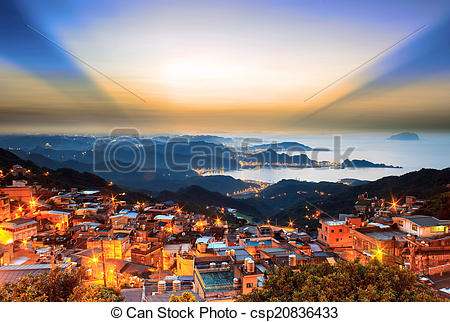 Stock Photos of The seaside mountain town scenery in Jiufen.