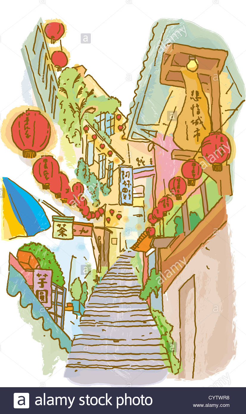Stairs Between Buildings That Have Chinese Lanterns Hanging From.
