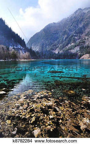 Drawings of Idyllic Blue Lake, Jiuzhaigou National Park, China.