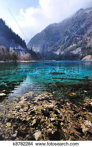 Drawings of Idyllic Blue Lake, Jiuzhaigou National Park, China.
