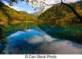 Stock Image of Forest and lake landscape of China jiuzhaigou.