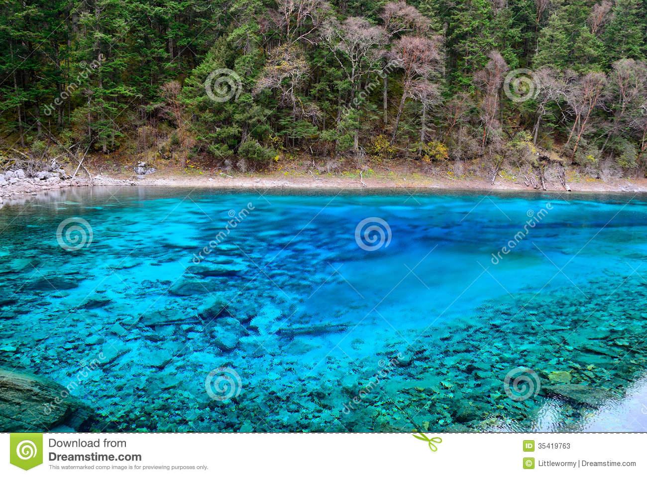 Multi Color Lake, Jiuzhaigou Stock Photos.