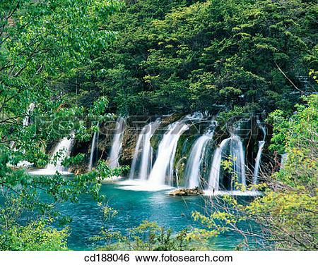 Stock Images of Shuzheng Waterfall. Jiuzhaigou. China cd188046.