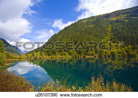 Stock Photography of China, Sichuan Province, Rhinoceros lake in.