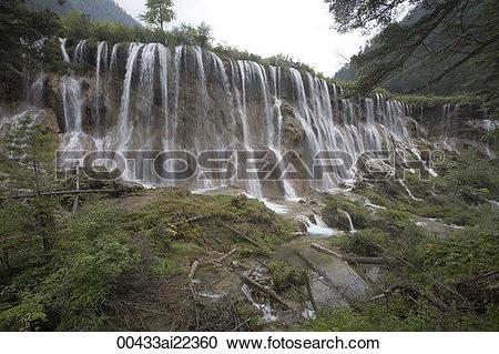 Stock Photography of Nuorilang Fall, Jiuzhaigou scenic Area.