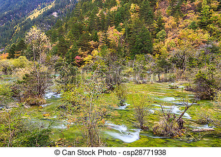 Drawings of Colorful Jiuzhaigou National Park in Autumn, Sichuan.