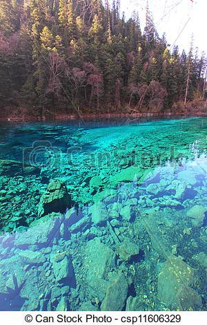 Stock Photo of Five colors lake in Jiuzhaigou.