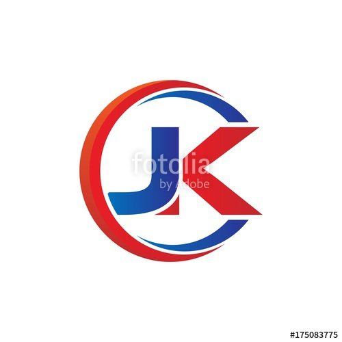 jk logo vector modern initial swoosh circle blue and red.