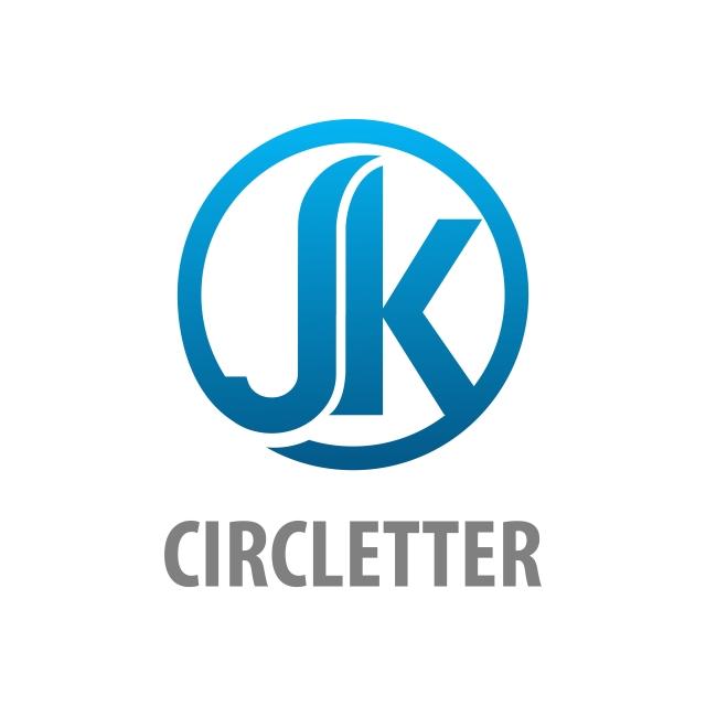 Circle Initial Letter Jk Logo Concept Design Symbol Graphic Template.