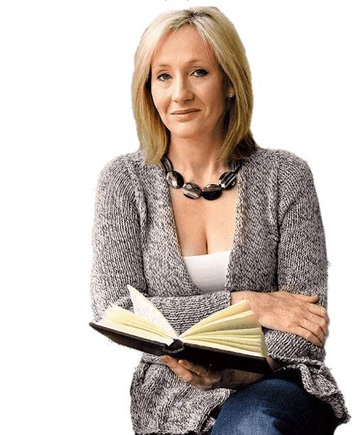 JK Rowling With Book transparent PNG.