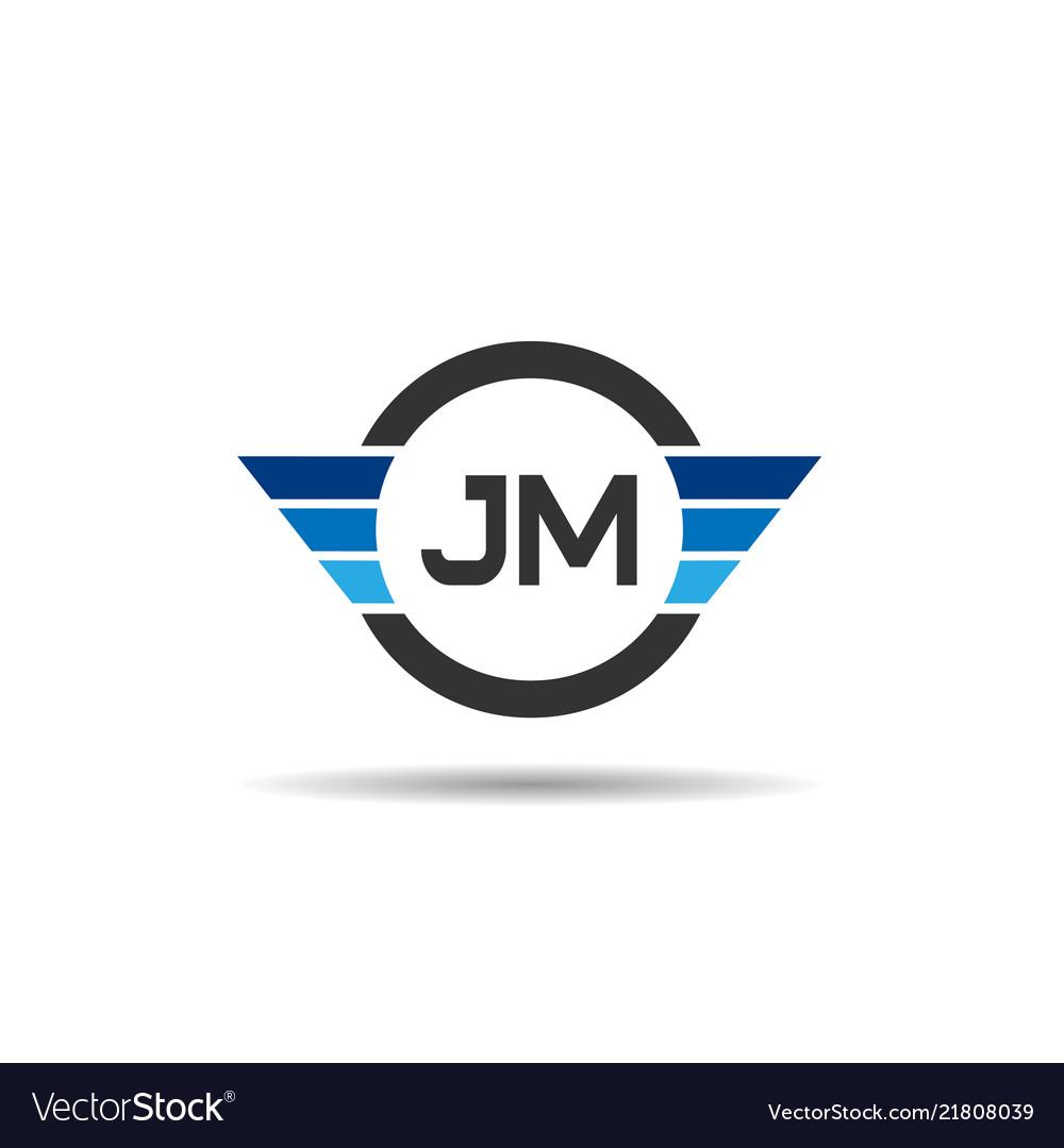 Initial letter jm logo template design.