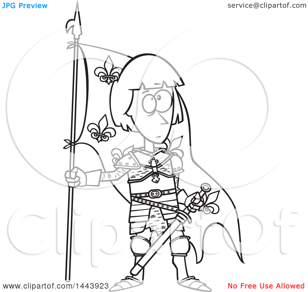 Clipart of a Cartoon Black and White Lineart Joan of Arc Standing.