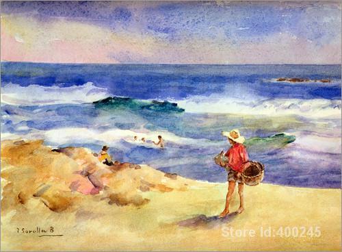 Aliexpress.com : Buy Oil painting beach scene Boy on the Sand.
