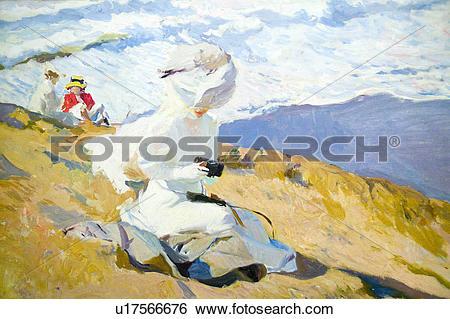 Stock Images of Seaside painting by Joaquín Sorolla y Bastida.