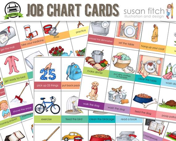 Printable Job Chart Chore Chart Cards.