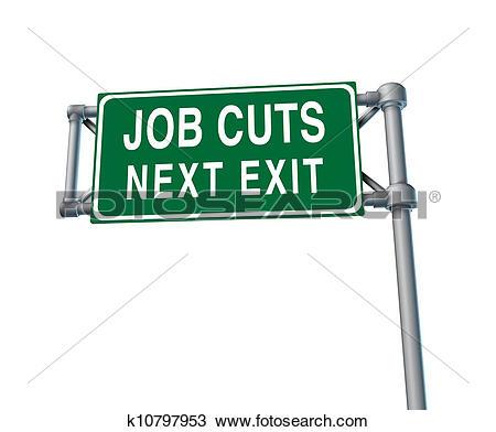 Stock Photo of Job Cuts Highway Sign k10797953.