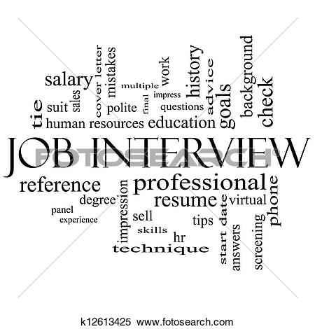 Stock Illustration of Job Interview Word Cloud Concept in Black.