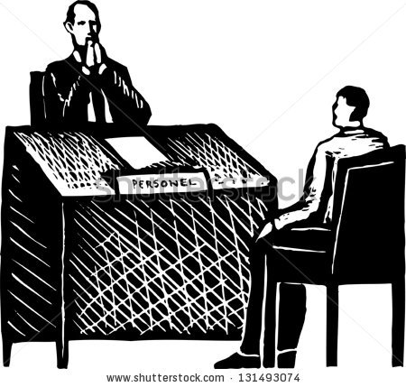 Black And White Vector Illustration Of A Job Interview.