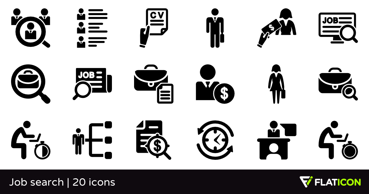 Job search 20 free icons (SVG, EPS, PSD, PNG files).