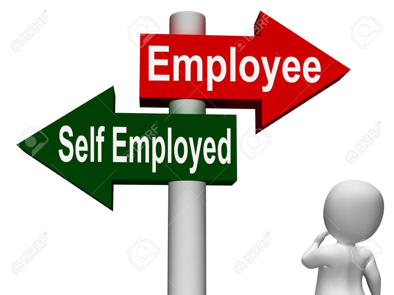 Employee Self Employed Signpost Meaning Choose Career Job Choice.