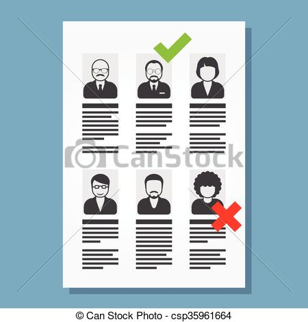 Clip Art Vector of Job placement and hiring people.