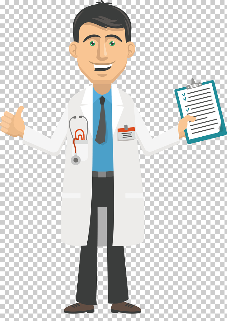 Cartoon Physician , Doctors, doctor holding clip board.