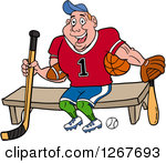 Clipart of an Outlined Baseball Kid with His Hand in His Glove.