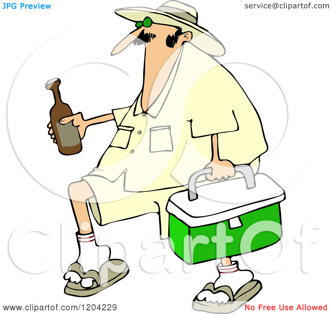 Cartoon of a Panama Joe Man Carrying a Cooler and Beer.