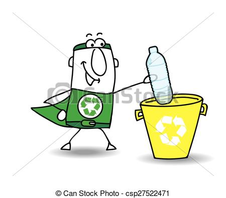 Vectors Illustration of Recycling a plastic bottle with Joe.
