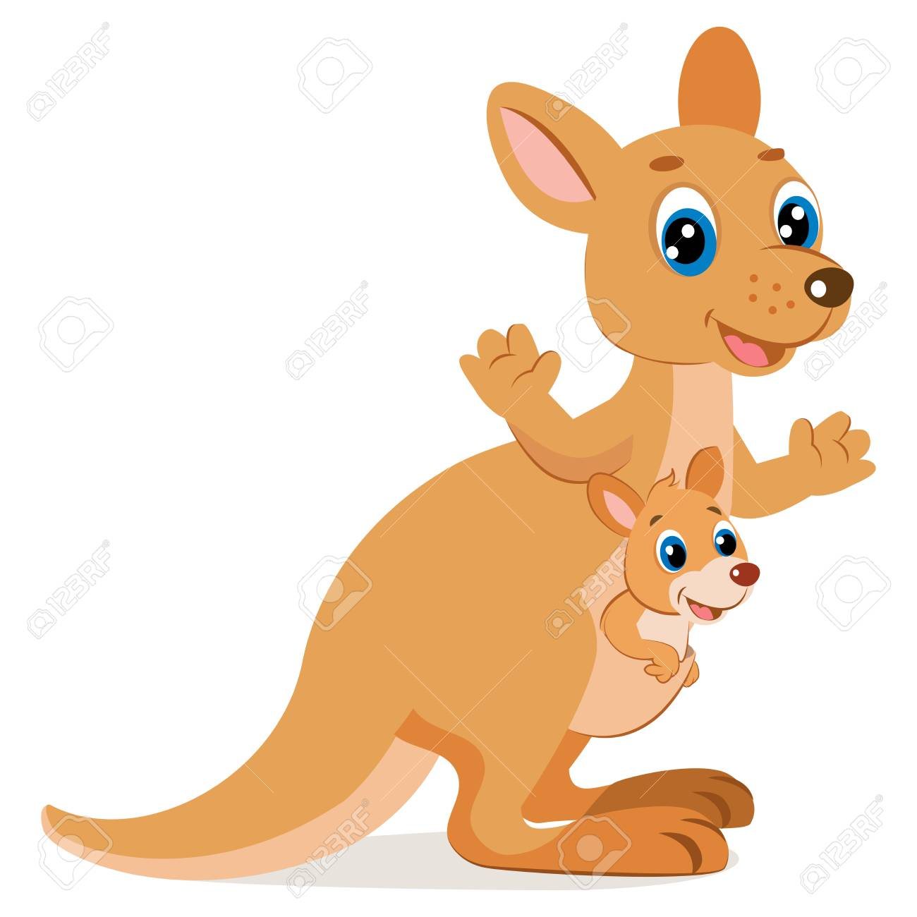 Mother Kangaroo With Her Little Cute Baby Kangaroo icon.