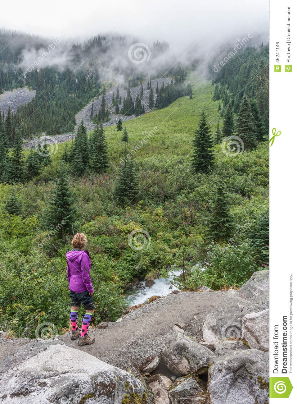 Hiker On Joffre Lakes Trail Stock Photo.