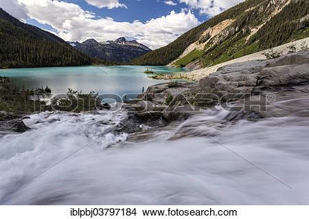 """Stock Photo of """"Waterfall, Upper Joffre Lake, Joffre Lakes."""