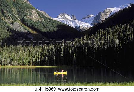 Stock Photograph of yellow canoe on Joffre Lake near Pemberton.