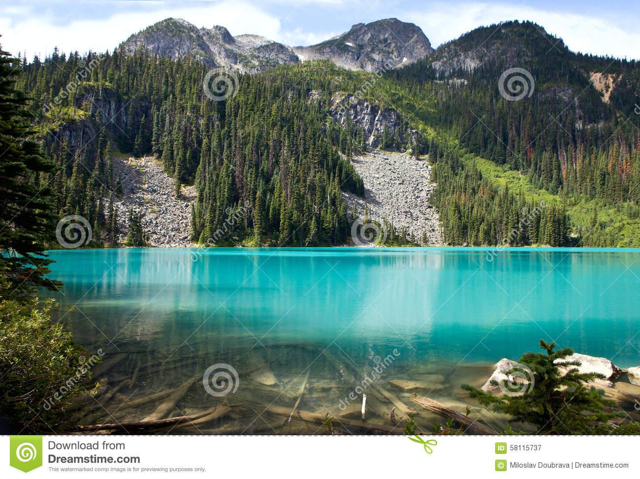Middle Joffre Lake Stock Photo.