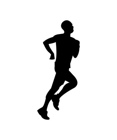 Man jogging black silhouette.