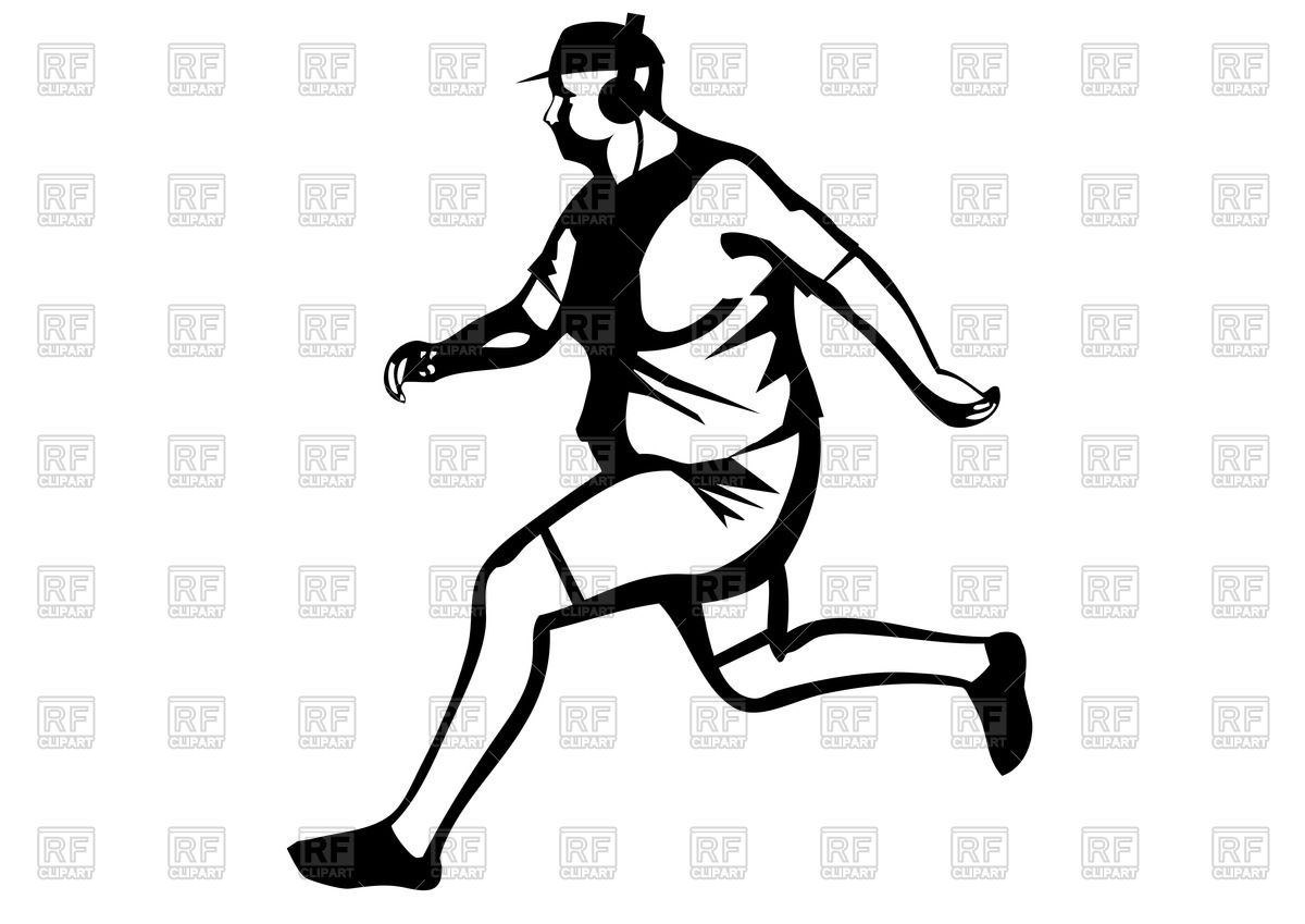 Silhouette of fat man jogging Vector Image #44926.