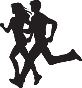 People jogging clipart.