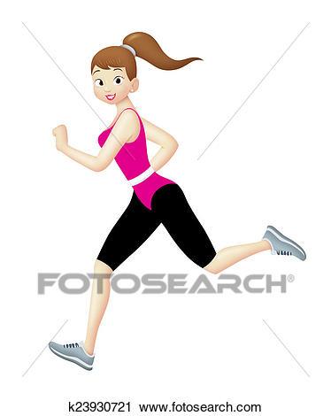 Jogger Girl Clip Art.