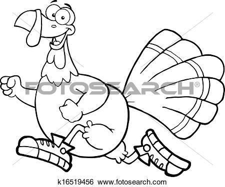 Clip Art of Outlined Turkey Bird Jogging k16519456.