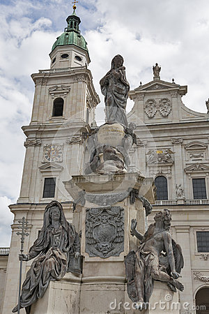 Statue In Front Of The Salzburg Dom, Austria. Stock Photo.